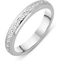 18ct White Gold Diamond Cut D Shaped Wedding Band