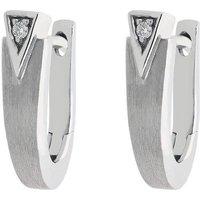 18ct White Gold Diamond Geometric Satin Hoop Earrings