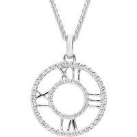 18ct White Gold 0.14ct Diamond Small Clock Face Necklace