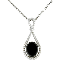 18ct White Gold Whitby Jet 0.24ct Diamond Loop Necklace
