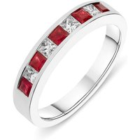 18ct White Gold Princess Cut 0.30ct Diamond Ruby Half Eternity Ring