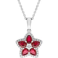 18ct White Gold Ruby and Diamond Star Necklace