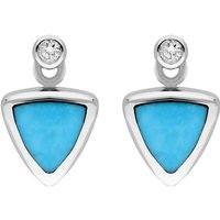 18ct White Gold Turquoise Diamond Triangle Stud Earrings
