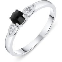 18ct White Gold Whitby Jet 0.07ct Diamond Pear Shoulder Ring