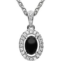18ct White Gold Whitby Jet 0.09ct Diamond Oval Necklace