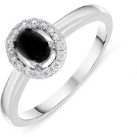 18ct White Gold Whitby Jet 0.12ct Diamond Cluster Ring