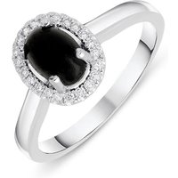 18ct White Gold Whitby Jet 0.12ct Diamond Oval Cluster Ring