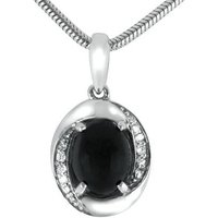 18ct White Gold Whitby Jet 0.12ct Diamond Oval Necklace