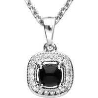 18ct White Gold Whitby Jet 0.13ct Diamond Cushion Necklace