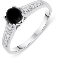 18ct White Gold Whitby Jet 0.15ct Diamond Shoulders Ring