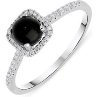 18ct White Gold Whitby Jet 0.16ct Diamond Square Cluster Ring