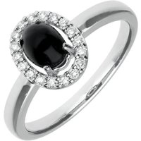 18ct White Gold Whitby Jet 0.17ct Diamond Oval Ring