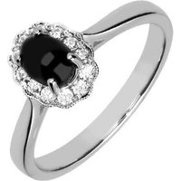 18ct White Gold Whitby Jet 0.19ct Diamond Oval Ring