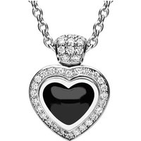 18ct White Gold Whitby Jet and Diamond Heart Necklace