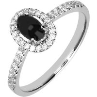 18ct White Gold Whitby Jet 0.23ct Diamond Oval Ring