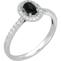18ct White Gold Whitby Jet 0.24ct Diamond Claw Set Oval Centre Ring