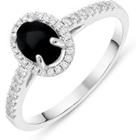 18ct White Gold Whitby Jet 0.24ct Diamond Oval Ring