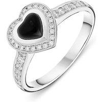 18ct White Gold Whitby Jet 0.24ct Diamond Shoulder Heart Ring
