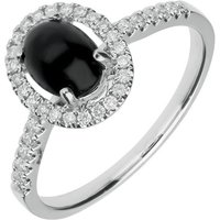 18ct White Gold Whitby Jet 0.26ct Diamond Oval Ring