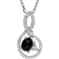 18ct White Gold  Whitby Jet 0.33ct Diamond Oval Swirl Necklace