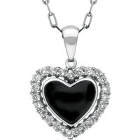 18ct White Gold Whitby Jet 0.34ct Diamond Heart Shaped Necklace