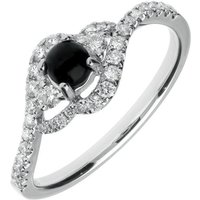 18ct White Gold Whitby Jet 0.34ct Diamond Round Cross Over Ring