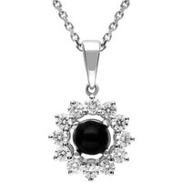 18ct White Gold Whitby Jet 0.35ct Diamond Round Centre Necklace