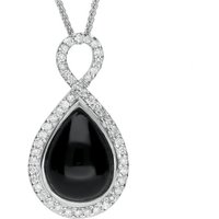 18ct White Gold Whitby Jet 0.38ct Diamond Open Twisted Loop Necklace