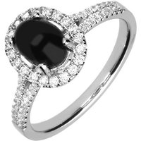 18ct White Gold Whitby Jet 0.38ct Diamond Oval Shoulder Ring