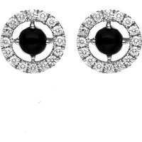 18ct White Gold Whitby Jet 0.38ct Diamond Stud Earrings