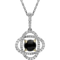 18ct White Gold Whitby Jet 0.40ct Diamond Necklace