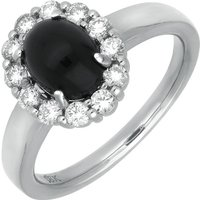 18ct White Gold Whitby Jet 0.42ct Diamond Oval Claw Cluster Ring