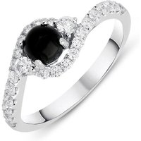 18ct White Gold Whitby Jet 0.50ct Diamond Wave Ring