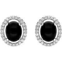 18ct White Gold Whitby Jet 0.51ct Diamond Oval Stud Earrings
