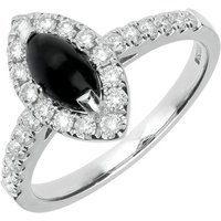 18ct White Gold Whitby Jet 0.53ct Diamond Marquise Ring