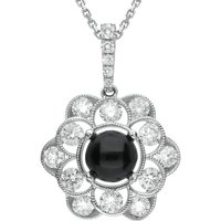 18ct White Gold Whitby Jet 0.89ct Diamond Flower Necklace