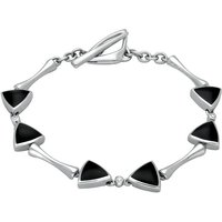 18ct White Gold Whitby Jet Diamond 6 Stone Curved Triangle Bracelet