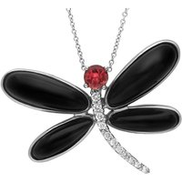 18ct White Gold Whitby Jet Diamond Rubellite Dragonfly Necklace