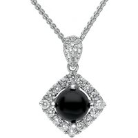18ct White Gold Whitby Jet Diamond Open Square Necklace