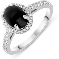 18ct White Gold Whitby Jet 0.27ct Diamond Oval Pave Shoulder Ring