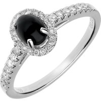 18ct White Gold Whitby Jet 0.22ct Diamond Oval Ring