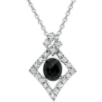 18ct White Gold Whitby Jet Diamond Pave Set Faceted Necklace