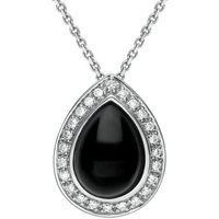 18ct White Gold Whitby Jet 0.21ct Diamond Pear Pave Necklace