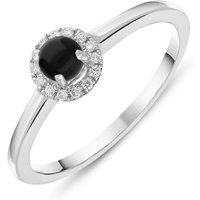 18ct White Gold Whitby Jet Diamond Round Cluster Ring