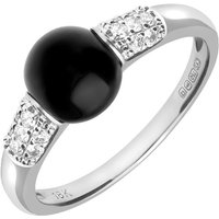 18ct White Gold Whitby Jet 0.18ct Diamond Round Pave Shoulder Ring