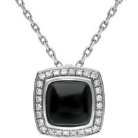 18ct White Gold Whitby Jet 0.13ct Diamond Square Pave Edge Necklace