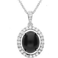 18ct White Gold Whitby Jet 0.28ct Diamond Oval Claw Set Necklace