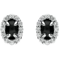 18ct White Gold Whitby Jet and Diamond Oval Stud Earrings