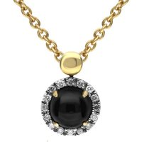 18ct Yellow Gold Whitby Jet Diamond Small Round Claw Set Necklace