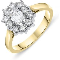 18ct Yellow Gold 1.06ct Diamond Baguette Cut Cluster Ring